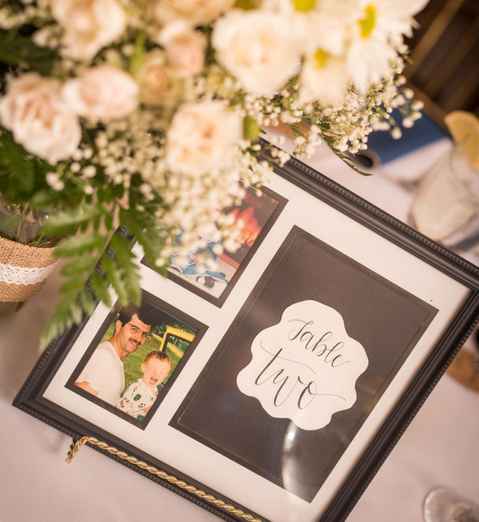 Personalized wedding table numbers. Photo by the Picture People.