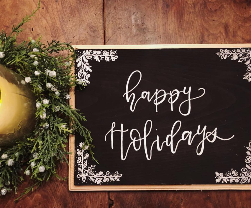 custom lettered wood holiday sign